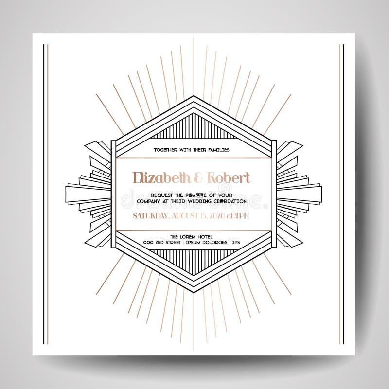 Art déco som gifta sig inbjudan som är lyxig sparar datumkortet med den guld- geometriska ramen moderiktig räkning, grafisk affis royaltyfri illustrationer