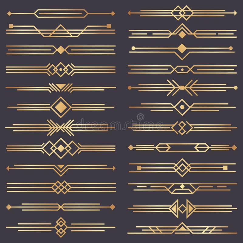 Art décoavdelare Guld- retro konster gränsar, dekorativa prydnader för 20-tal och den guld- uppsättningen för design för avdelarg royaltyfri illustrationer