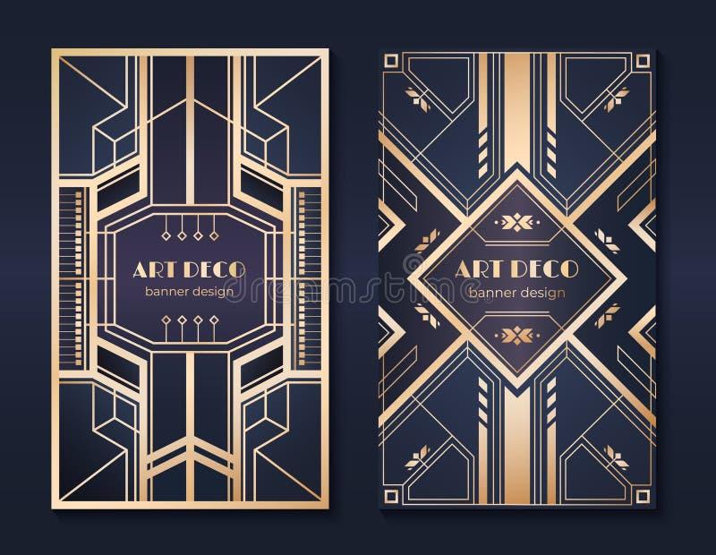 Art décobaner reklamblad för 20-talpartiinbjudan, utsmyckad guld- dekorativ design, tappningramar och modeller art déco stock illustrationer