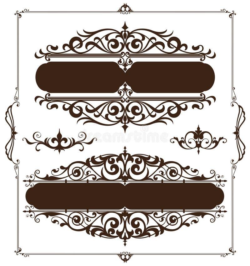 Art décodesignbeståndsdelar av tappning smyckar och gränshörn av ramen stock illustrationer
