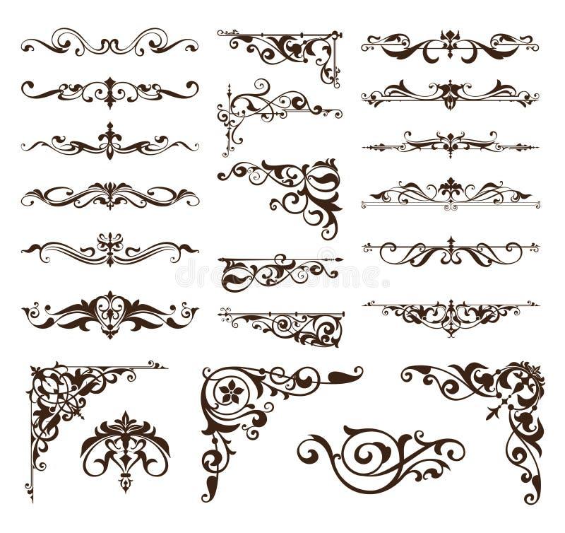Art décodesignbeståndsdelar av tappning smyckar och gränshörn av ramen vektor illustrationer