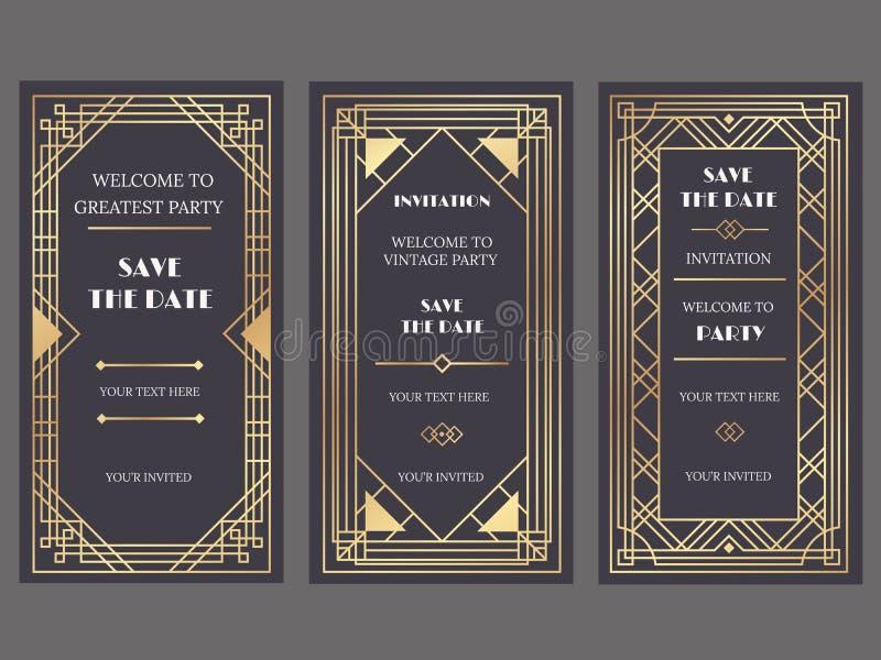 Art décokonstbaner Utsmyckad partihändelseinbjudan, guld- retro modemodell för glamour och baner för guldramvektor stock illustrationer
