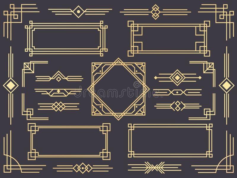 Art décolinje gräns Moderna arabiska guldramar, dekorativa linjer gränser och den geometriska guld- vektorn för etikettram planlä royaltyfri illustrationer