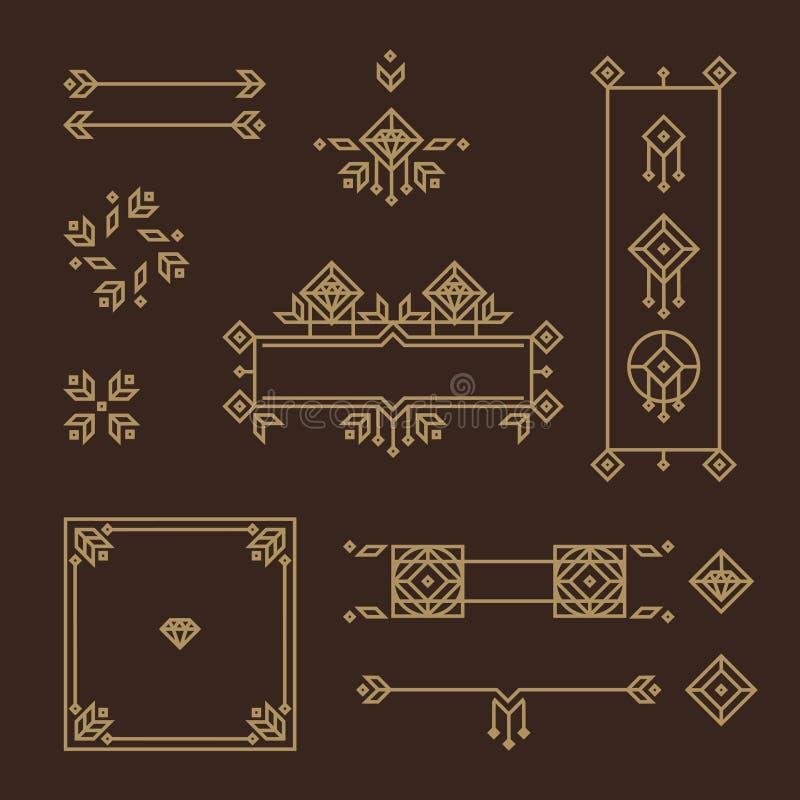 art décoram Calligraphic ramar, blom- modeller och baner Beståndsdel för design royaltyfri illustrationer