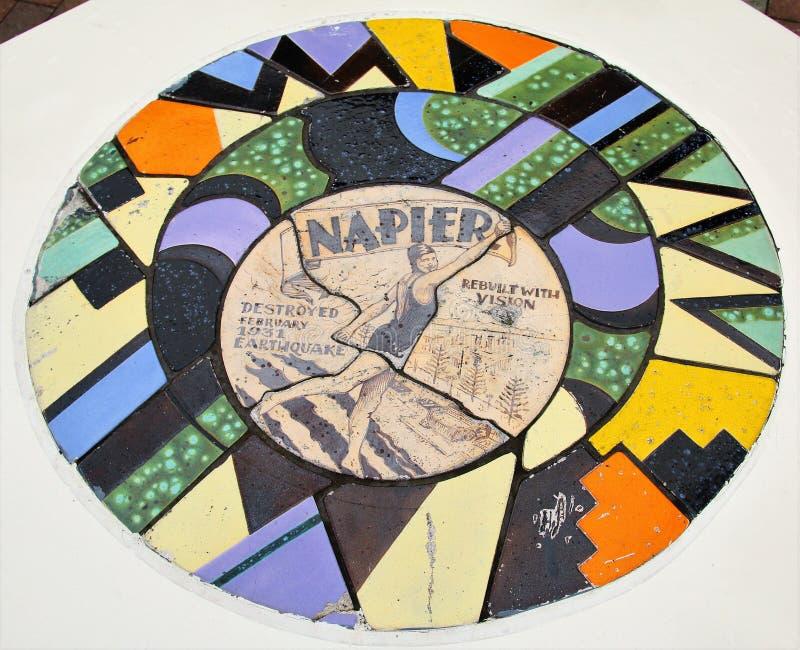 Art décotegelplattadesign i Napier Nya Zeeland arkivbilder