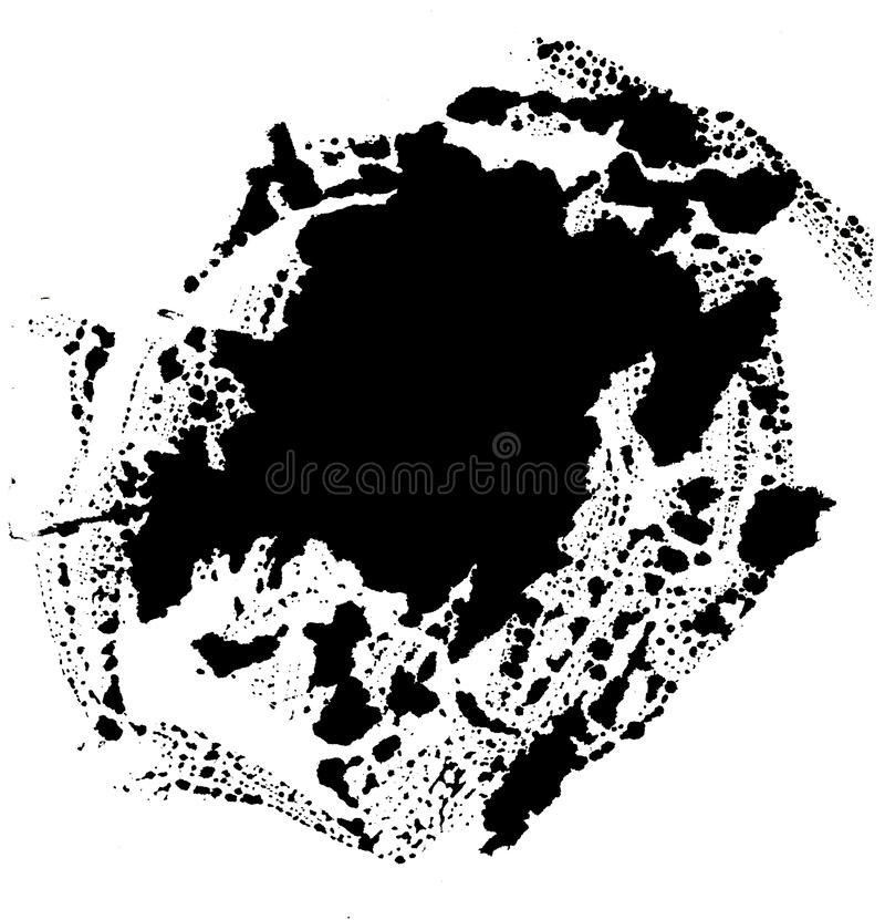 Art d'aquarelle Tache noire abstraite sur le fond blanc dans le style d'encre baisse d'encre Couleur grise abr?gez le fond illustration de vecteur