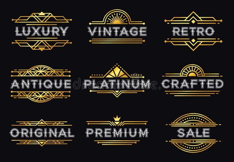 Art d?coetikett Retro lyxiga geometriska prydnader, tappningprydnadram och dekorativa linjer etikettvektor f stock illustrationer