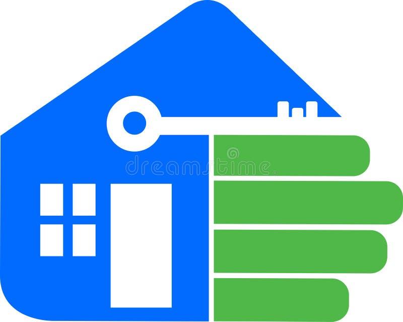 Logo à la maison de main illustration libre de droits
