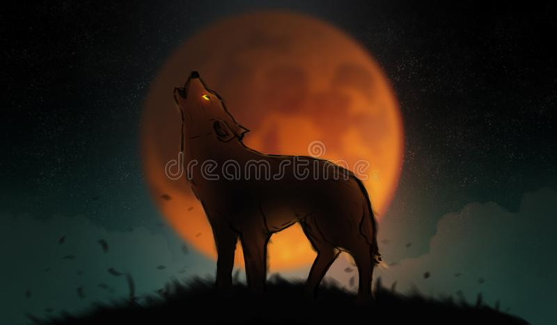 Art d'illustration de Digital peignant un loup hurlant dans le sauvage, Bi illustration stock