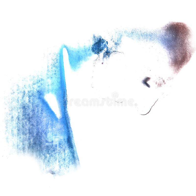 Art Dark blue, brown watercolor ink paint blob watercolour splas. H colorful stain isolated on white background stock photo