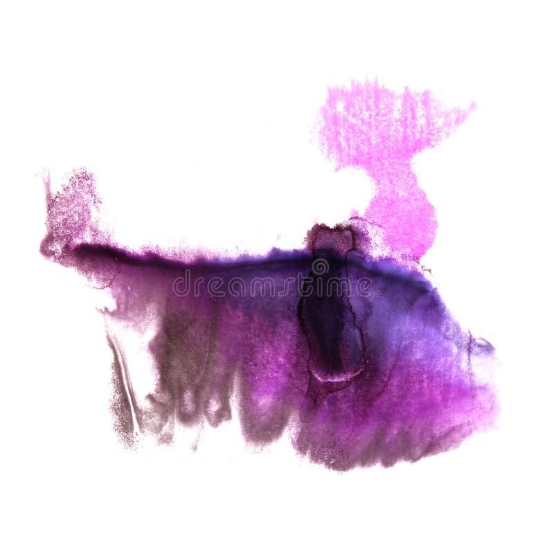 art Dark blue, violet watercolor ink paint blob watercolour spla stock illustration