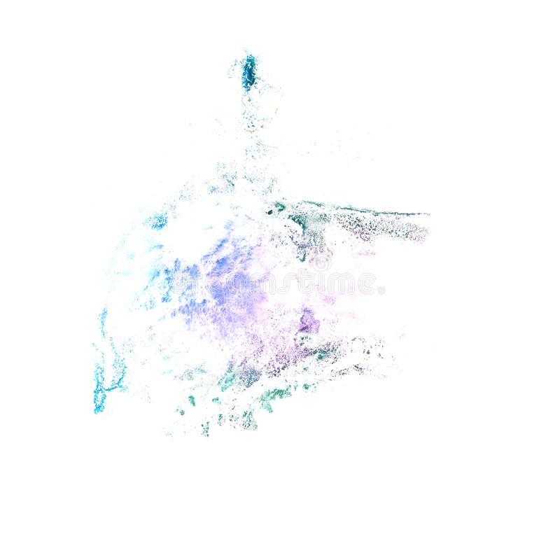 Art Dark blue watercolor ink paint blob watercolour splash color. Ful stain isolated on white background 2 royalty free stock photo