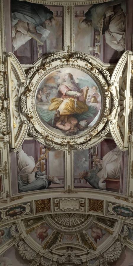 Art de Bellagio Plafond de couloir de musée de Vatican images stock