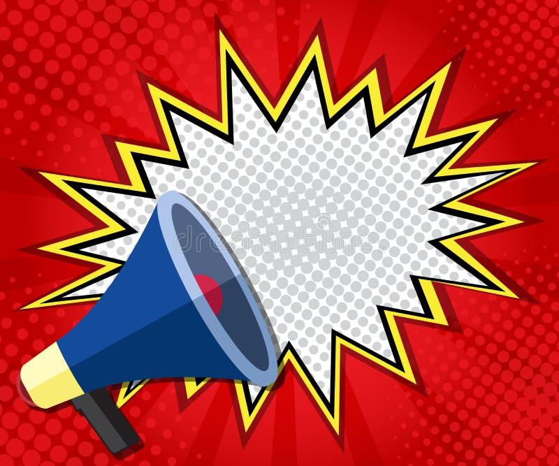 Art de bruit abstrait de bulle de la parole de blanc de boom, bande dessinée sur le fond rouge illustration stock