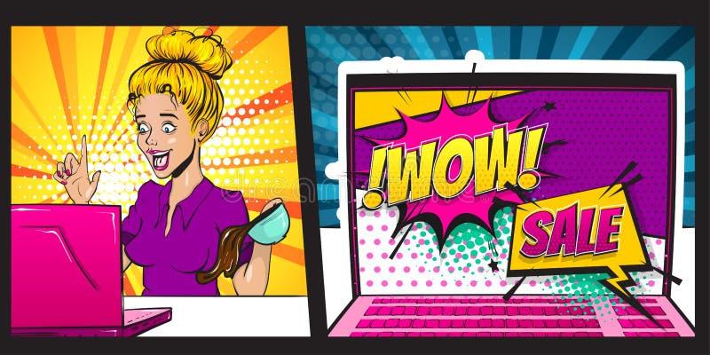 Art de bruit blond de femme de surprise de bande dessinée illustration libre de droits