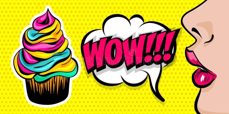 Art de bruit comique de fille de femme des textes d'été illustration libre de droits