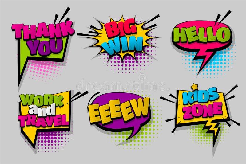 Art de bruit comique réglé de bulle de la parole des textes illustration stock