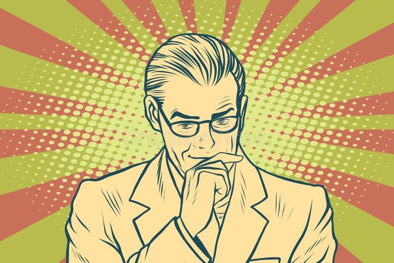 Art de bruit de pensée d'homme d'affaires rétro illustration stock