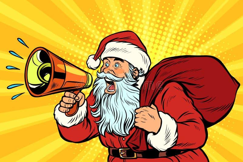 Art de bruit Santa Claus avec le mégaphone illustration de vecteur