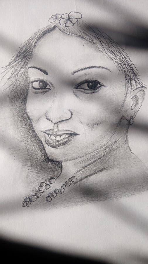 Art de crayon de femme de portrait images stock