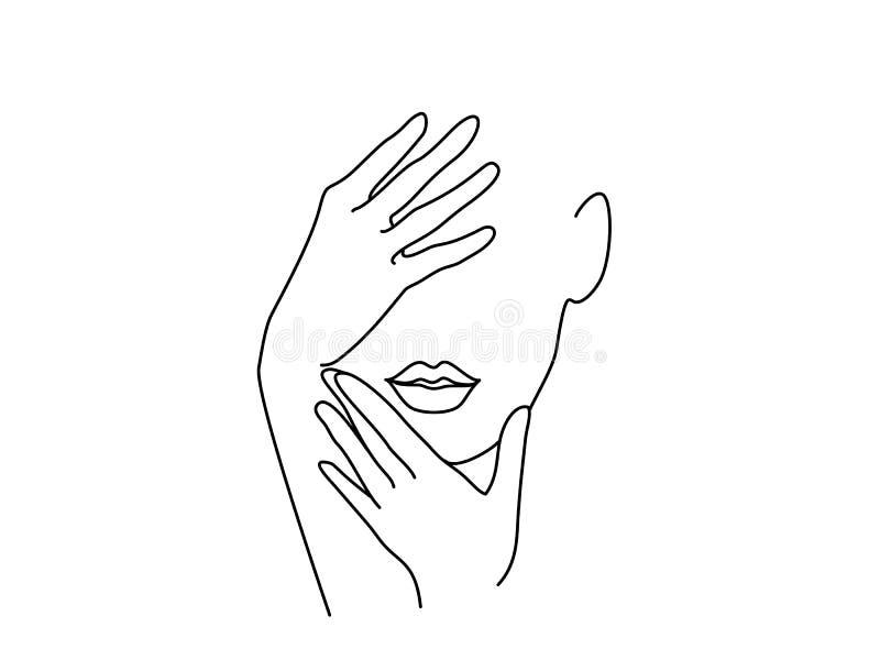 Art de dessin au trait Visage de femme avec des mains illustration libre de droits