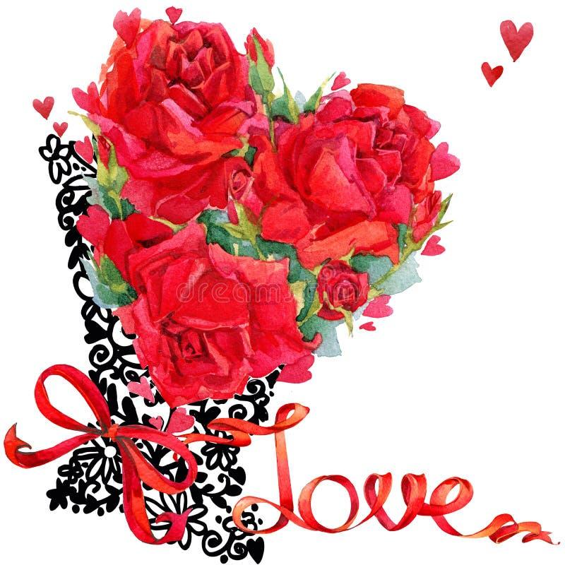 Art de dessin de main de fleur de Rose de jour de valentines illustration stock