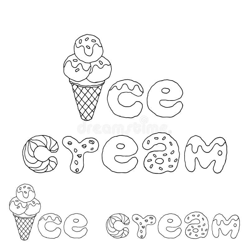 Art de dessin de main de conception d'illustration de vecteur de police de crème glacée  illustration libre de droits