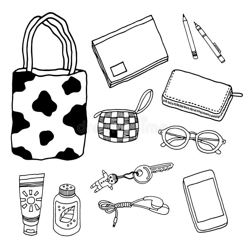 Art de dessin de vecteur d'illustration de main accessoire réglée de conception illustration stock