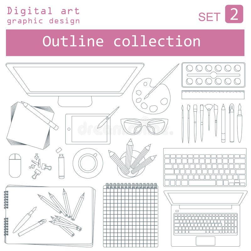 Art de Digital et conception graphique Lieu de travail dans le contour linéaire illustration stock