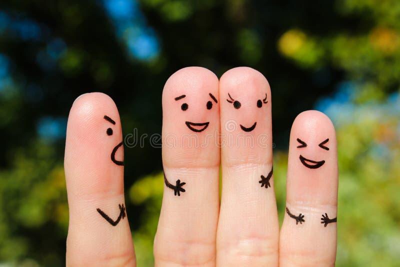 Art de doigt des personnes le concept d'un homme gronde des personnes, et elles rient photos libres de droits