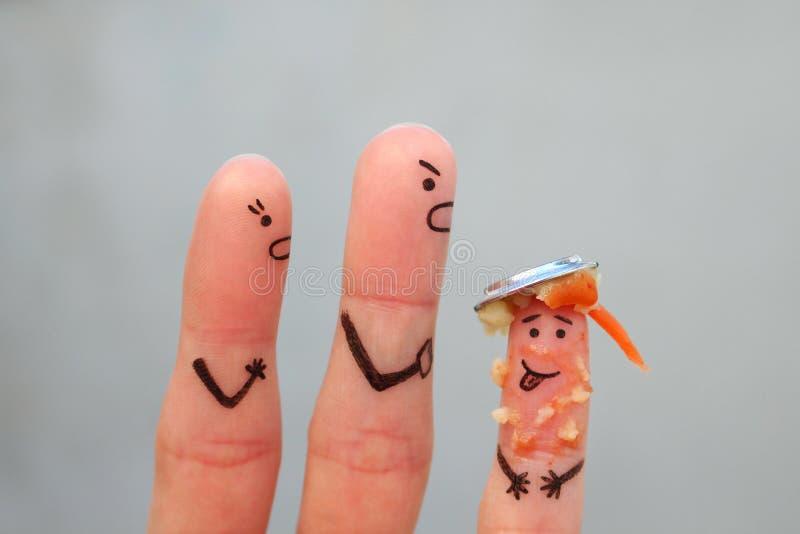 Art de doigts de famille pendant la querelle images stock
