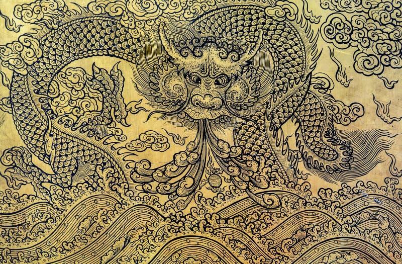 Art de feuille d'or de dragon chinois image libre de droits