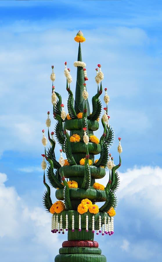 Art de feuille de banane et de fleur, riz offrant, tradition de thaïlandais photographie stock libre de droits