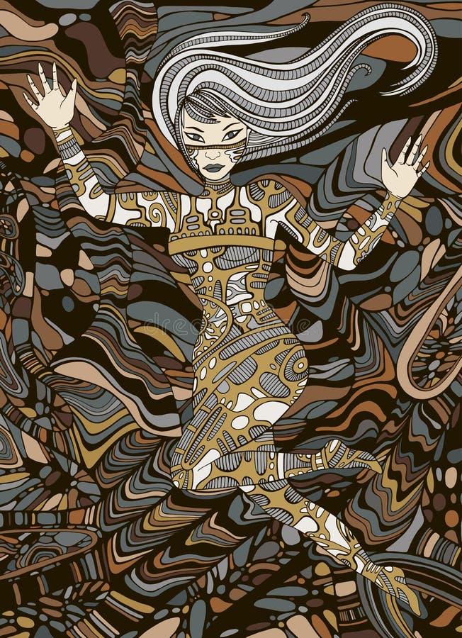Art de fille de Steampunk Femme fantastique surréaliste de style de griffonnage illustration libre de droits