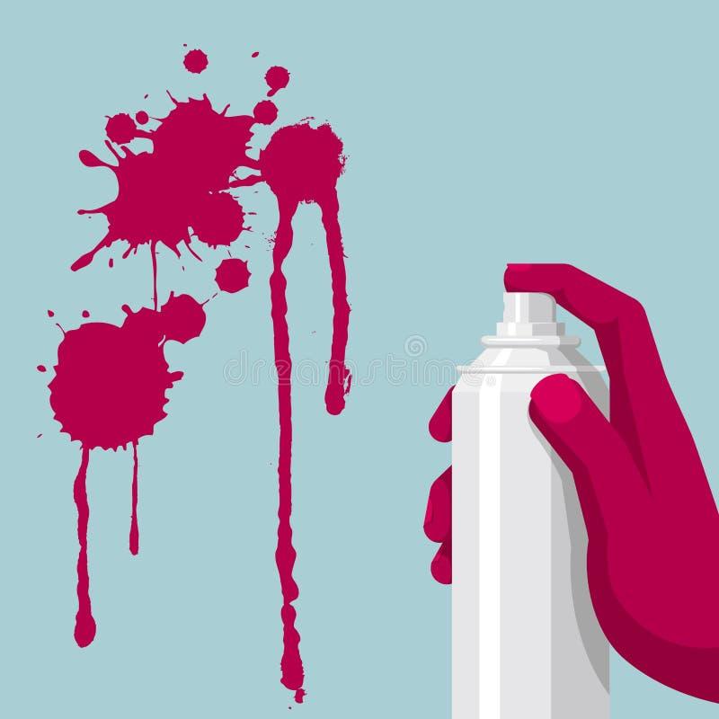 Art de graffiti, main tenant le jet de peinture illustration de vecteur