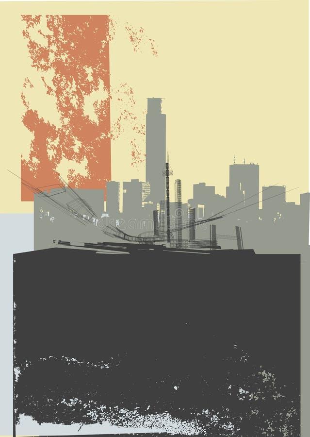 Art de grunge de ville illustration stock