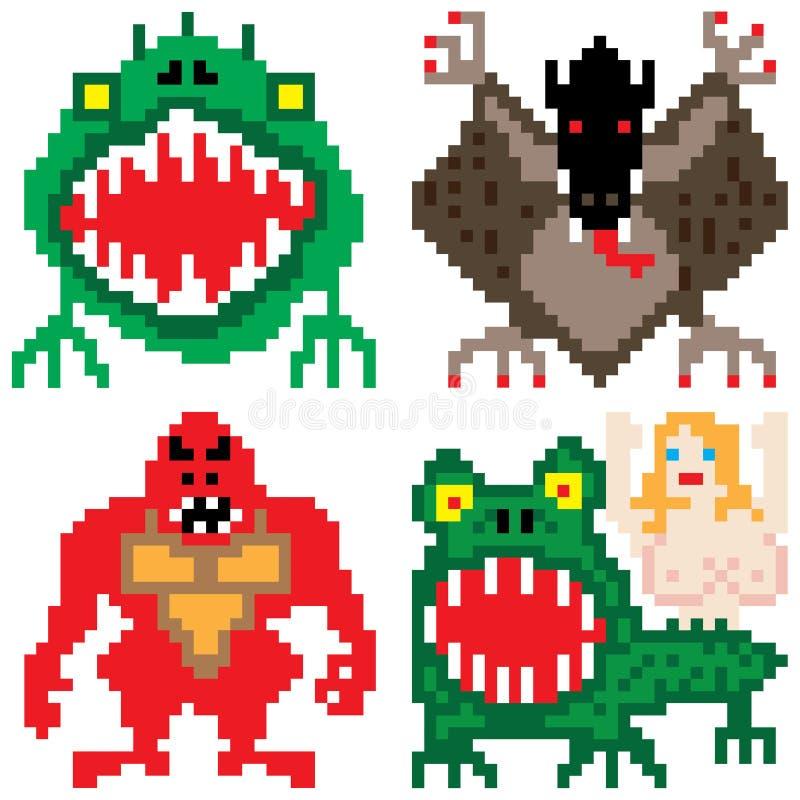 Art de huit bits de pixel de plus mauvais de terreur monstre d'horreur illustration de vecteur