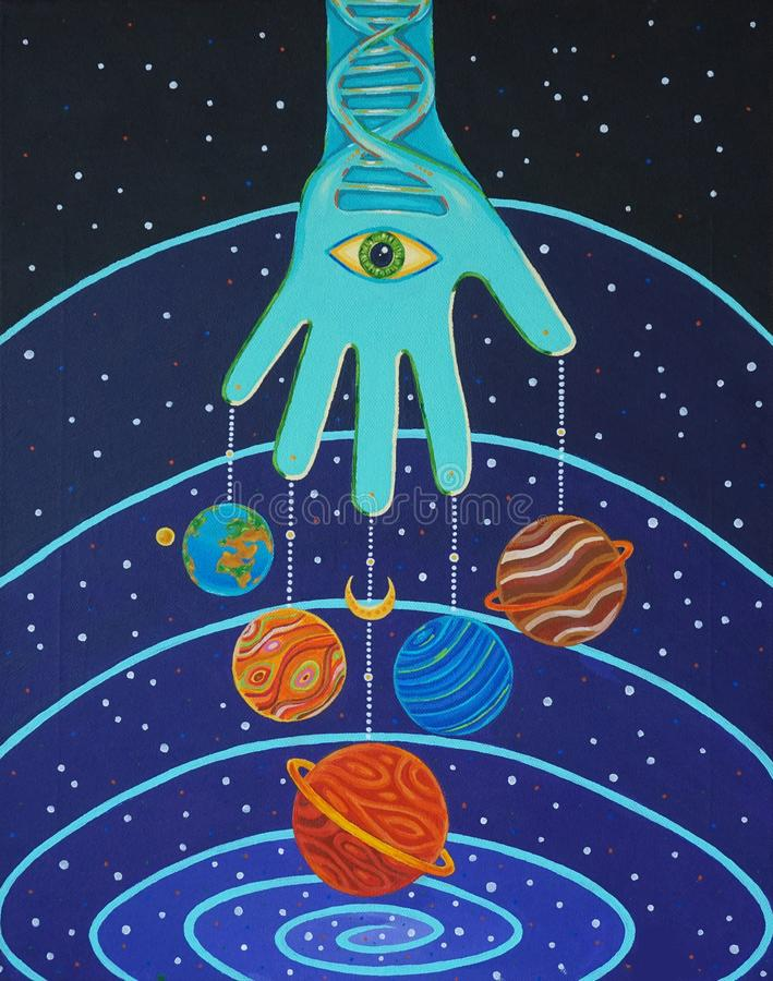 Art de l'espace, étoiles de constellations de galaxie, lune de la terre de planètes, évolution, univers d'ADN, tout-voyant l'oeil illustration de vecteur