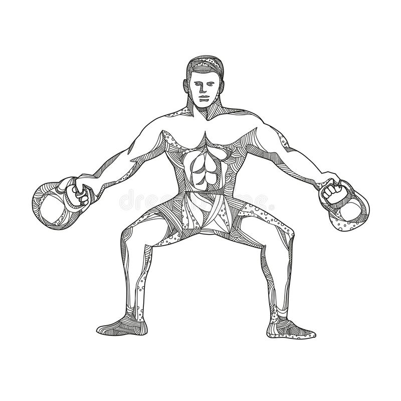 Art de Lifting Kettlebell Doodle d'athlète de forme physique illustration stock