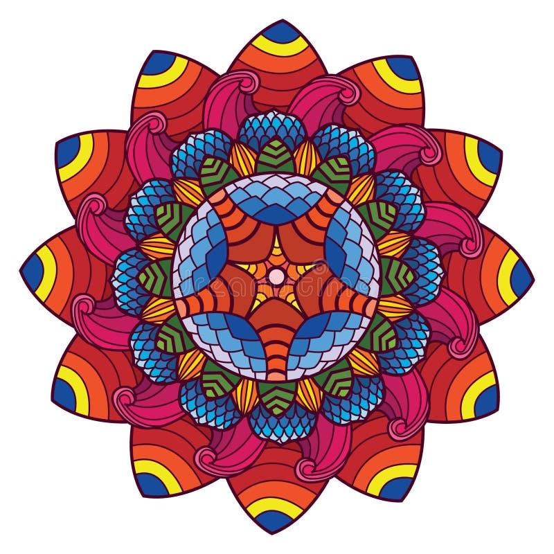 Art de mandala avec de beaux fleurs et ornement de modèle Art de mandala de cru avec des motifs floraux circulaires illustration de vecteur