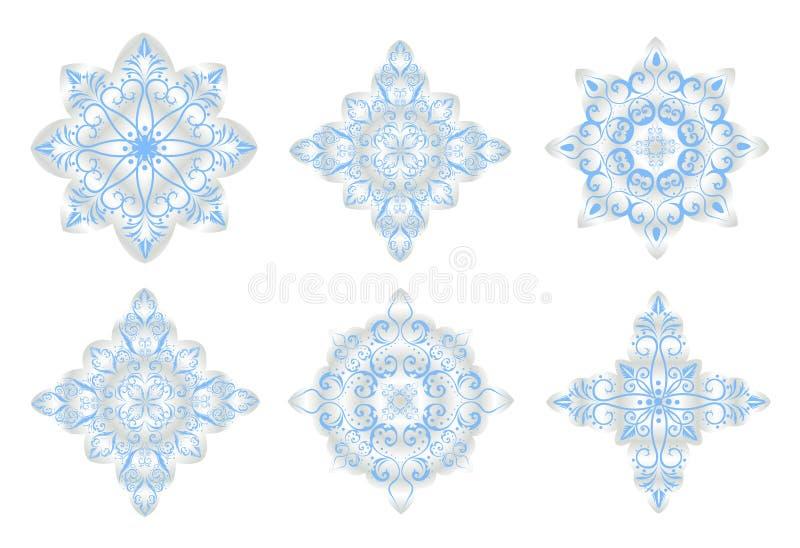 Art de Noël. Flocons de neige bleus sur le fond blanc illustration libre de droits
