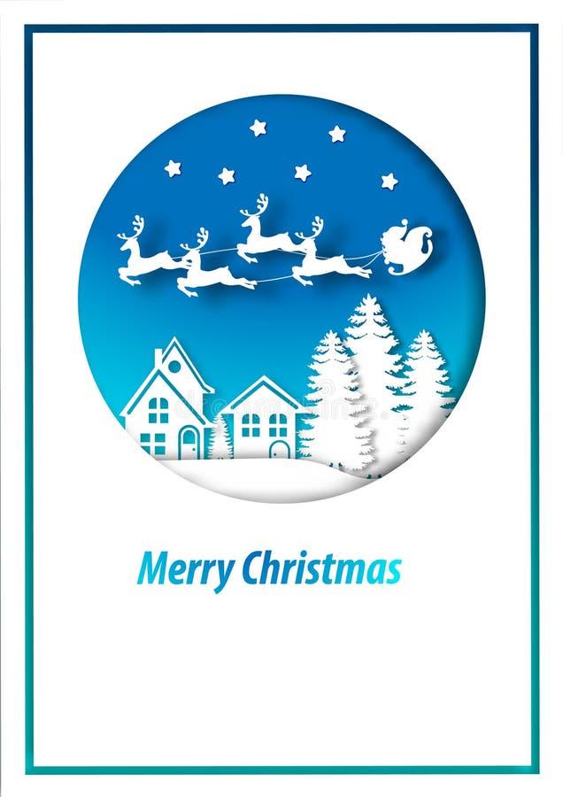 Art de papier de carte et de Santa Claus de Joyeux No?l dans le vecteur de fond de vue de paysage de ville de neige illustration de vecteur