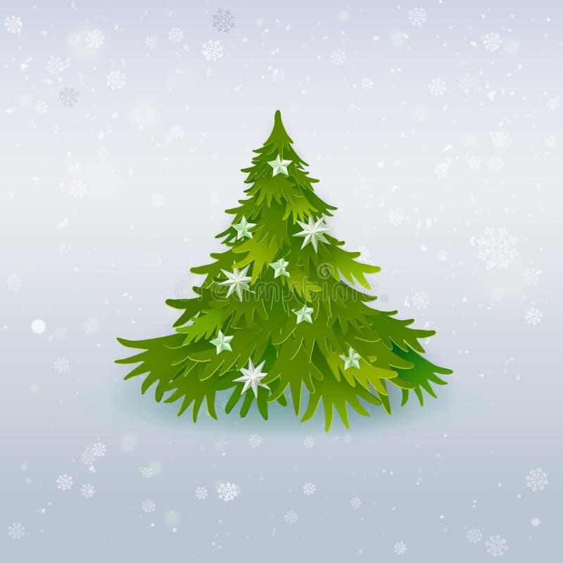 Art de papier d'arbre de Noël sur le blanc illustration libre de droits