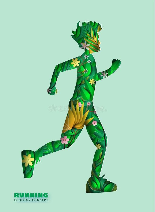 Art de papier de forme courante de courbe de silhouette d'homme avec des feuilles et illustration stock