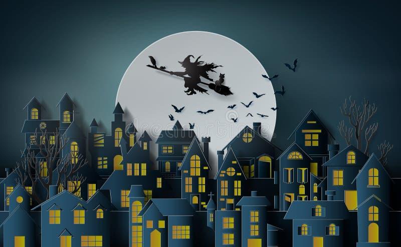 Art de papier de Halloween heureux illustration stock