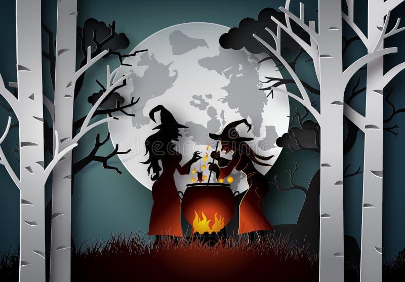 Art de papier de Halloween heureux illustration libre de droits