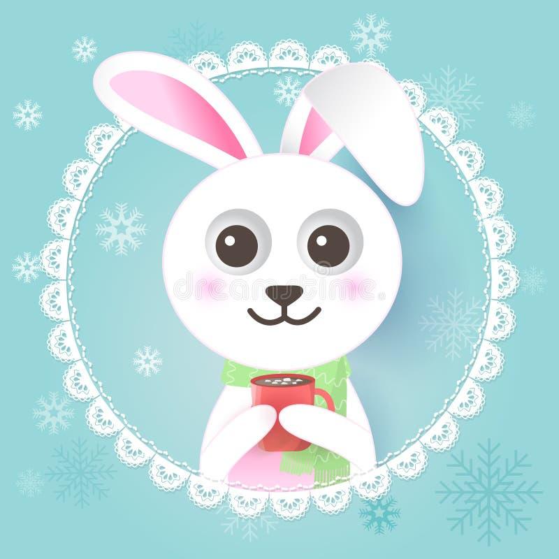 Art de papier de lapin avec la tasse chaude de cacao en cadre et flocon de neige de dentelle illustration stock