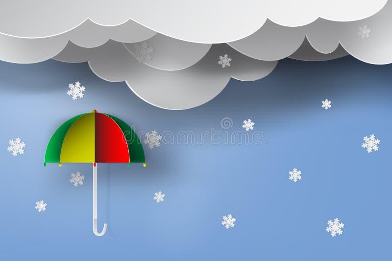 Art de papier de parapluie coloré avec la saison d'hiver, neige, ciel bleu, illustration stock