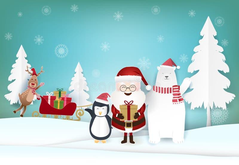 Art de papier de saison des vacances de Noël, fond d'illustration de métier de papier illustration de vecteur