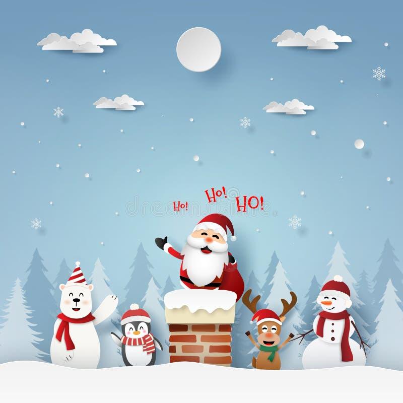 Art de papier, style de métier de Santa Claus et amis sur le toit avec la cheminée illustration stock
